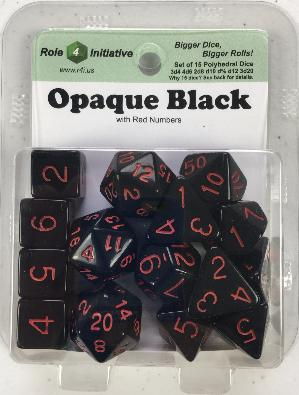 Polyhedral Dice Set: Opaque Black with Red Numbers (15)