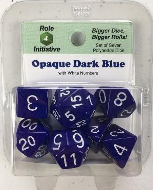 Polyhedral Dice Set: Opaque Dark Blue with White Numbers (7)