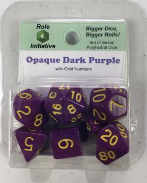 Polyhedral Dice Set: Opaque Dark Purple with Gold Numbers (7)