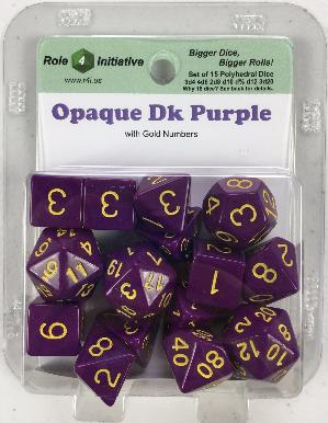 Polyhedral Dice Set: Opaque Dark Purple with Gold Numbers (15)