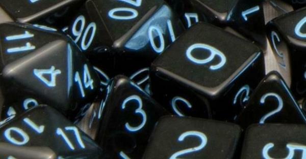 Polyhedral Dice Set: Translucent Black (Smoke) with Light Blue Numbers (7)