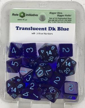 Polyhedral Dice Set: Translucent Dark Blue with Light Blue Numbers (15)