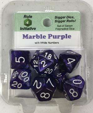 Polyhedral Dice Set: Marble Purple with White Numbers (7)