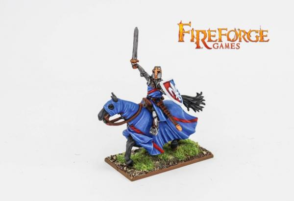 28mm Deus Vult: Leader on Barded Horse (Fleur-de-Lis)