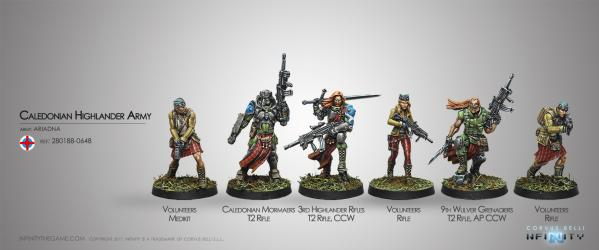 Infinity (#648) Ariadna: CALEDONIAN HIGHLANDER ARMY, ARIADNA SECTORIAL STARTER PACK (6)
