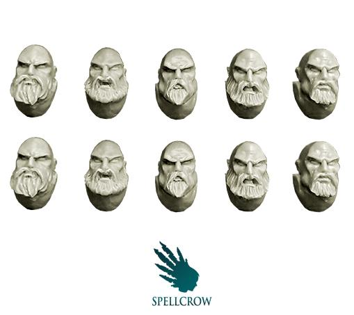 28mm Sci-Fi: (Space Knights) Space Knights Heads with Beards