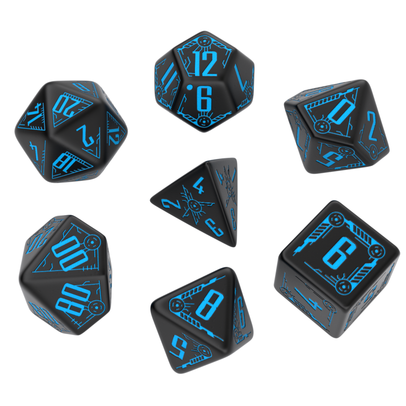Exotic Dice Sets: Galactic Black & blue Dice Set (7)