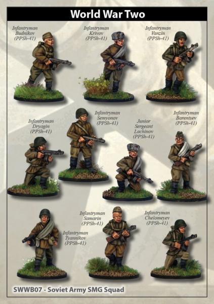 28mm World War II: (Soviet) Soviet Army SMG Squad