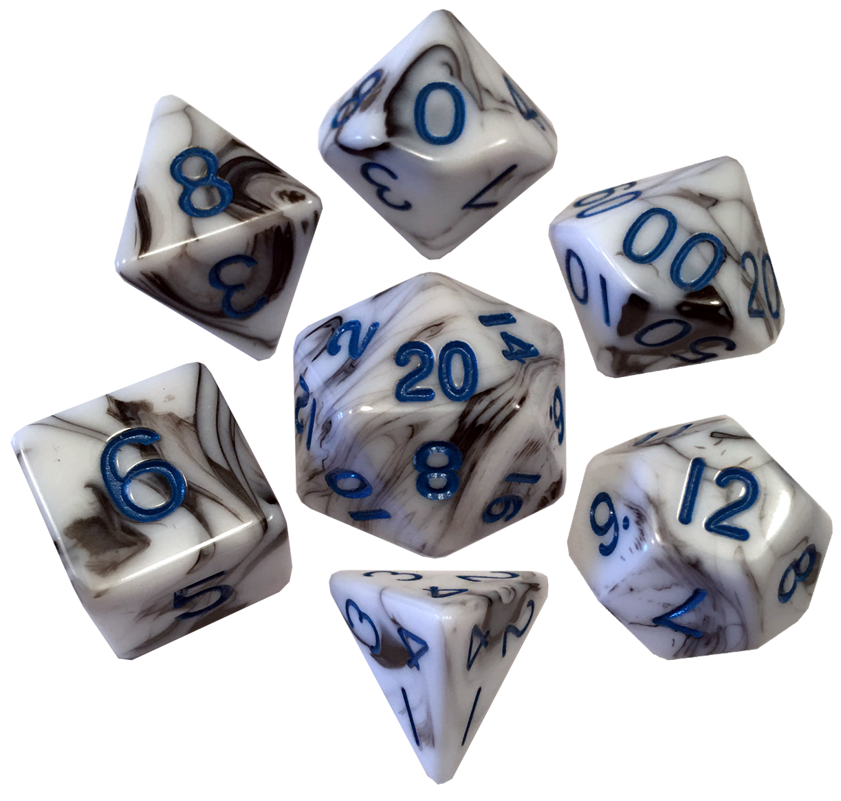 16mm Acrylic Poly Dice Set - Marble with Blue Numbers