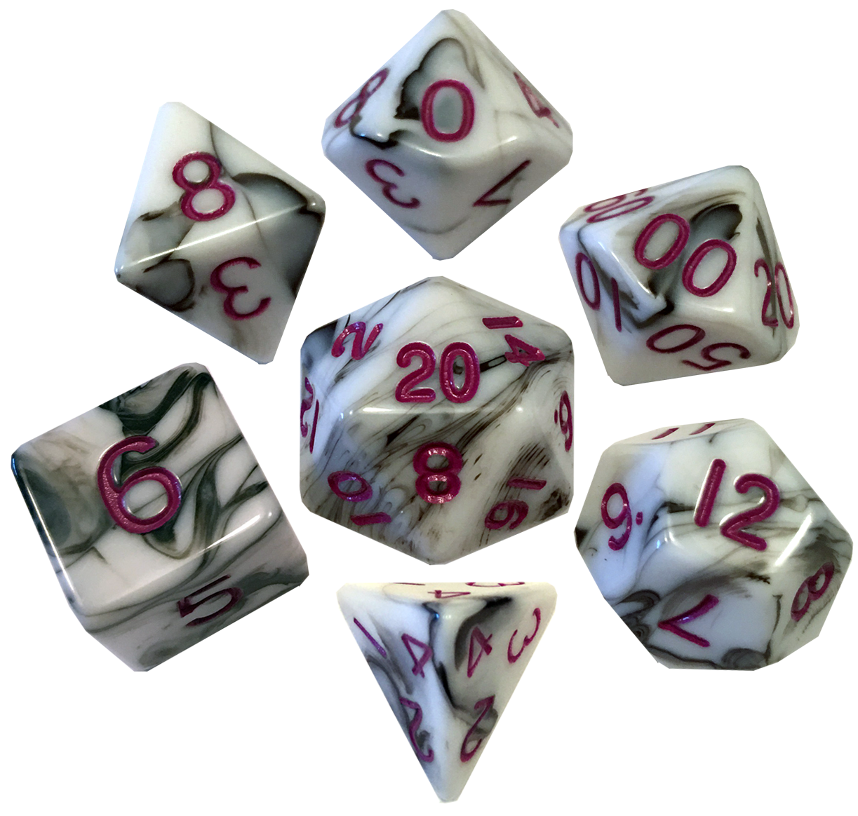 16mm Acrylic Poly Dice Set - Marble with Purple Numbers