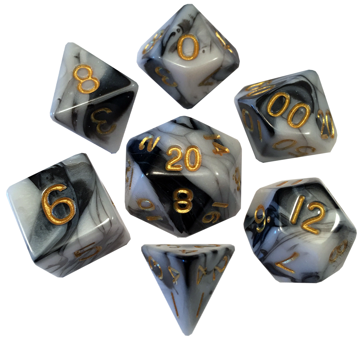 16mm Acrylic Poly Dice Set - Marble with Gold Numbers