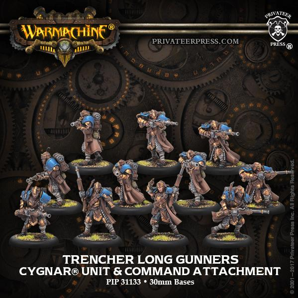 Warmachine: (Cygnar) Trencher Long Gunners - Cygnar Unit and Command Attachment (11) (resin/metal)