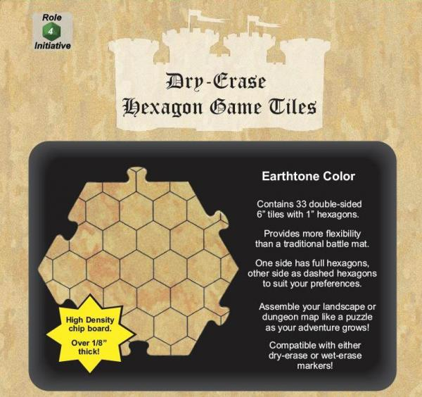 Dungeon Tiles: Earthtone - 6'' Hexagons (33)