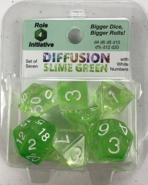 Polyhedral Dice Set: Diffusion Slime Green w/ White Numbers (7)