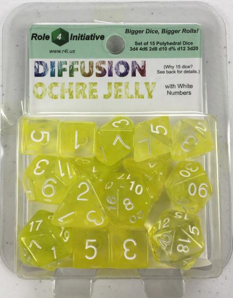 Polyhedral Dice Set: Diffusion Ochre Jelly w/ White Numbers (15)