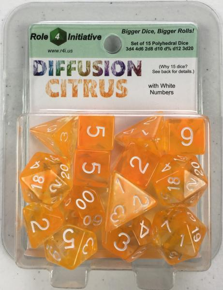 Polyhedral Dice Set: Diffusion Citrus w/ White Numbers (15)