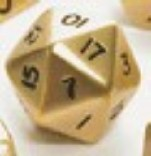 Dwarven Metal: Giant d20 Die (brushed Brass/Gold color) 35mm