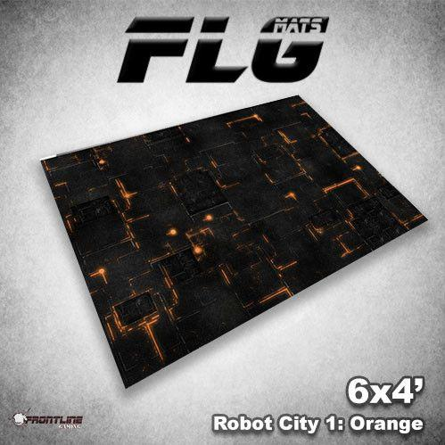 Frontline Gaming Mats: Robot City v1 Orange 4x6'