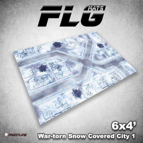 Frontline Gaming Mats: War-Torn Snow Covered City v1 4x6'