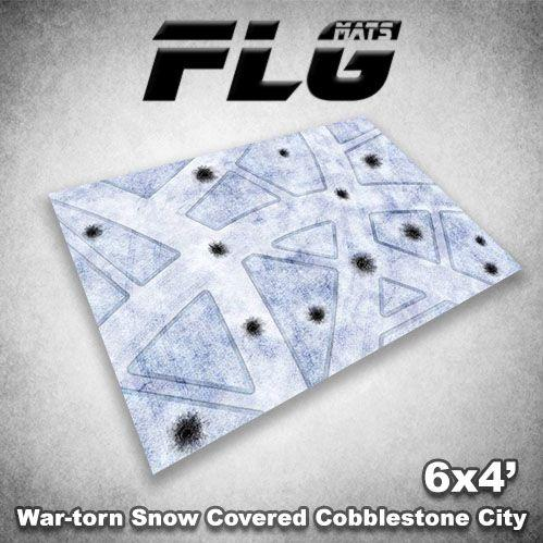 Frontline Gaming Mats: War-torn Snow Covered Cobblestone City v1 4x6'