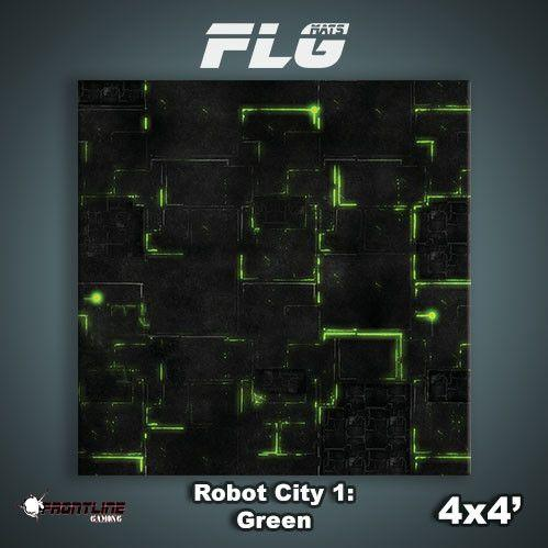 Frontline Gaming Mats: Robot City v1 Green 4x4'