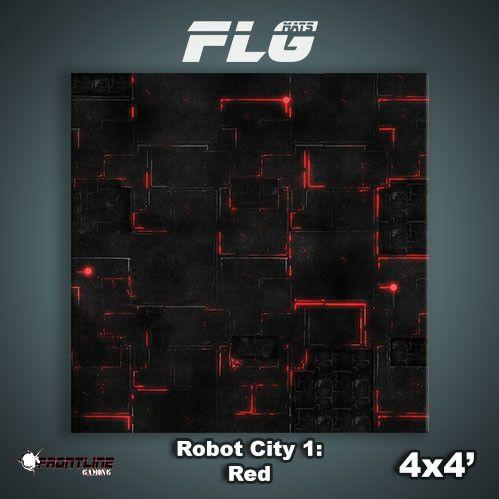 Frontline Gaming Mats: Robot City v1 Red 4x4'