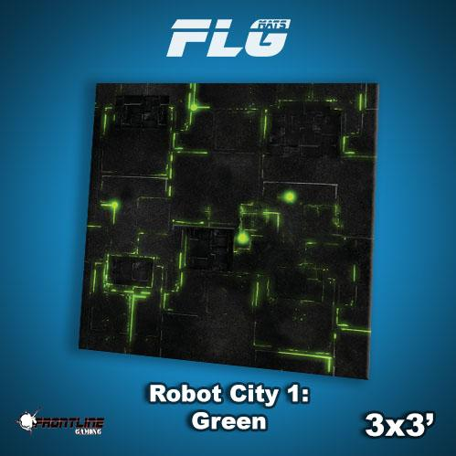 Frontline Gaming Mats: Robot City v1 Green 3x3'