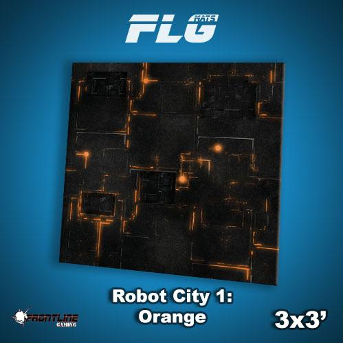 Frontline Gaming Mats: Robot City v1 Orange 3x3'