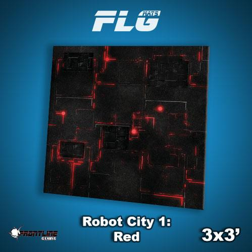 Frontline Gaming Mats: Robot City v1 Red 3x3'