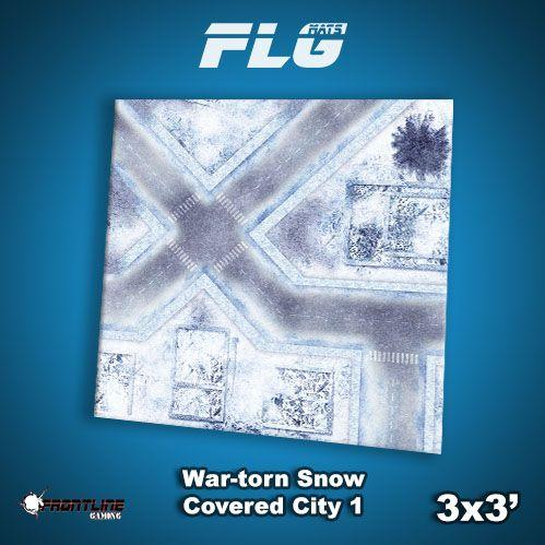 Frontline Gaming Mats: War-torn Snow Covered City v1 3x3'