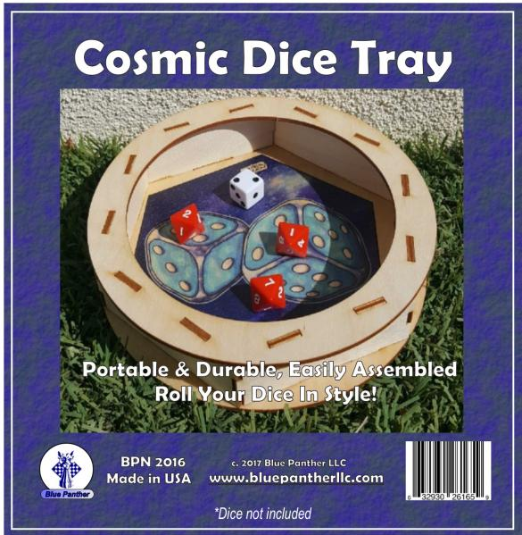 Wood Circular Dice Tray - Cosmic