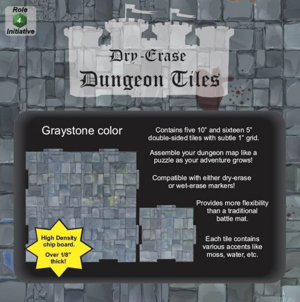 Dungeon Tiles: Graystone - 10'' and 5'' Squares (21)