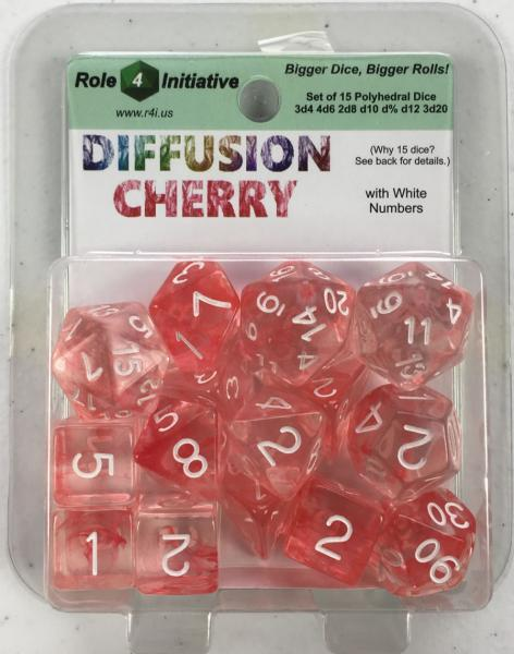 Polyhedral Dice Set: Diffusion Cherry w/ White Numbers (15)