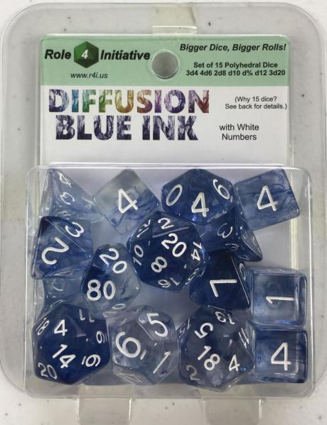 Polyhedral Dice Set: Diffusion Blue Ink w/ White Numbers (15)