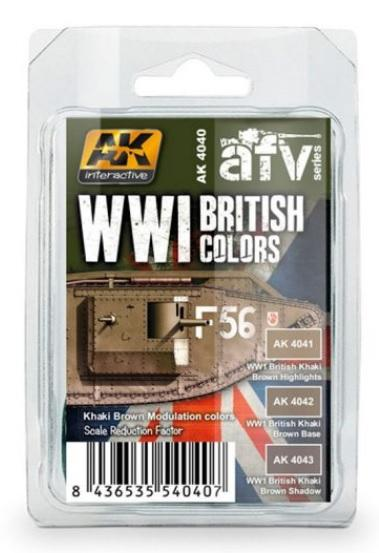 AK-Interactive: WWI BRITISH COLORS (Khaki Brown Modulation Set)