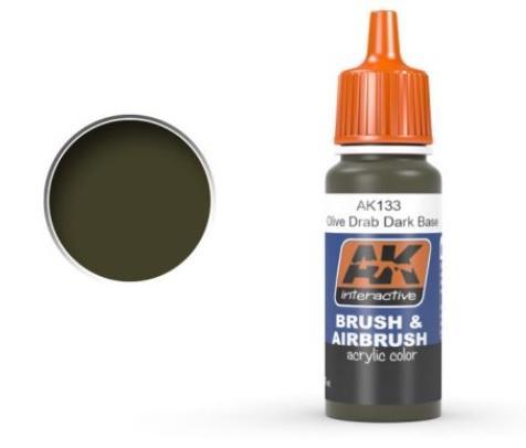 AK-Interactive: OLIVE DRAB DARK BASE Acrylic Paint