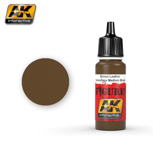 AK-Interactive: (Figure) BROWN LEATHER / CAMOUFLAGE MEDIUM BROWN Acrylic Paint