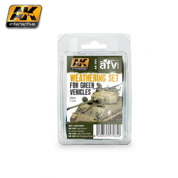 AK-Interactive: (Weathering) GREEN VEHICLES WEATHERING SET