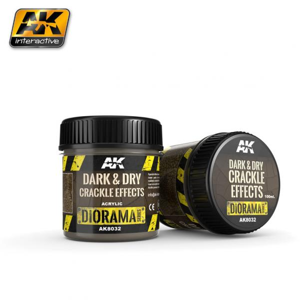 AK-Interactive: (Texture) DARK & DRY CRACKLE EFFECTS - 100ml (Acrylic)