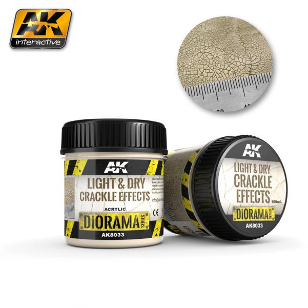 AK-Interactive: (Texture) LIGHT & DRY CRACKLE EFFECTS - 100ml (Acrylic)