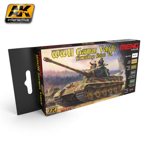 AK-Interactive: (Acrylic) MENG WWII GERMAN VEHICLE CAMOUFLAGE COLORS VOL.1
