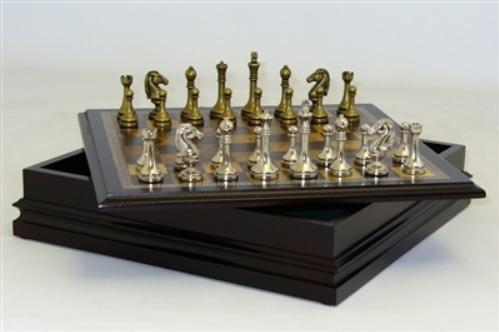Chess: Metal Staunton in Wood Chest