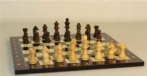 Walnut Stained German Chessmen on Alpha Numeric Chess Board