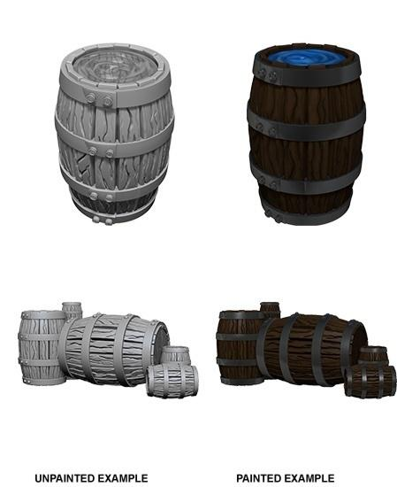 WizKids Deep Cuts Unpainted Miniatures: Barrel & Pile of Barrels