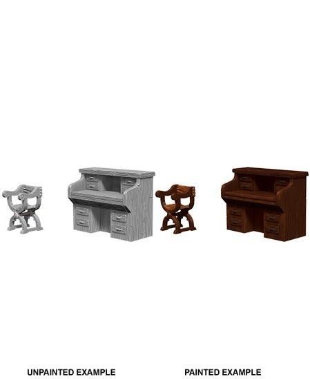 WizKids Deep Cuts Unpainted Miniatures: Desk & Chair