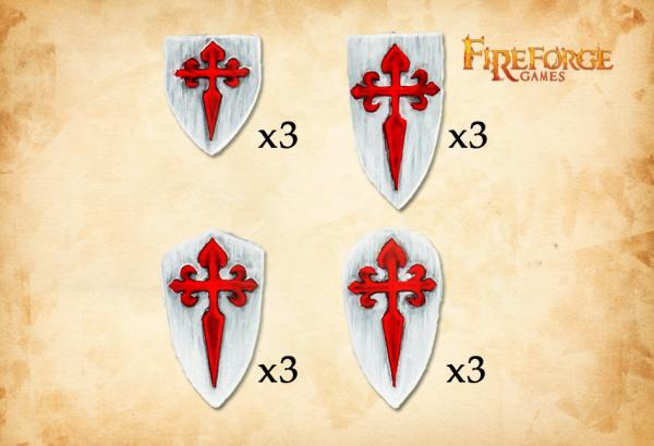 28mm Deus Vult: (Accessories) Santiago Order Shields (12)