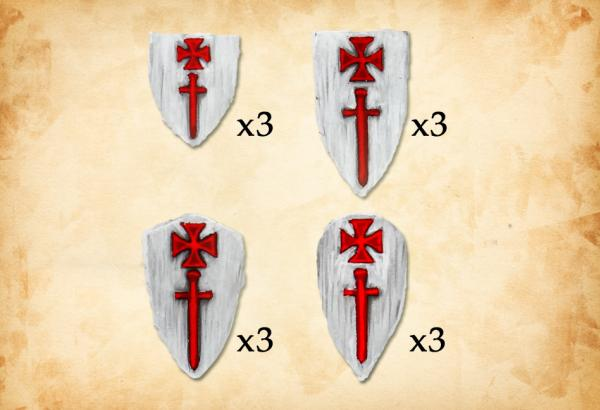 28mm Deus Vult: (Accessories) Livonian Order Shields I (12)