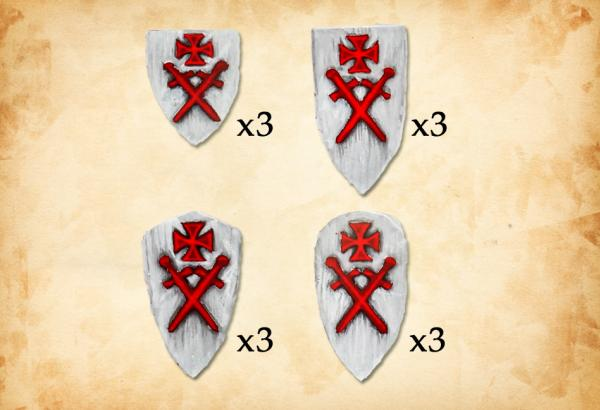 28mm Deus Vult: (Accessories) Livonian Order Shields II (12)