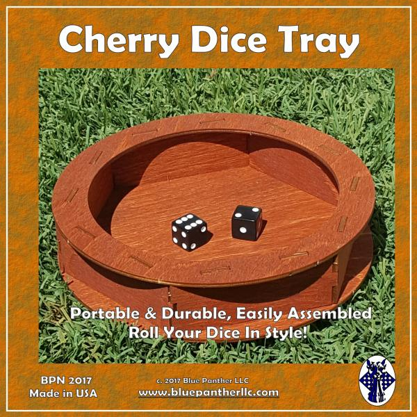 Wood Circular Dice Tray - Cherry