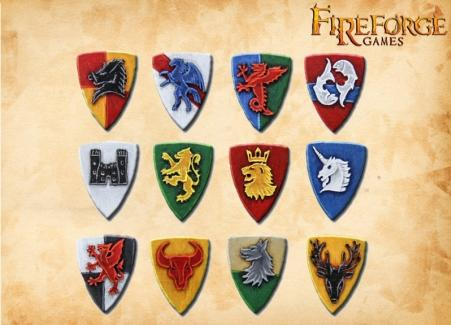 28mm Deus Vult: (Accessories) Fantasy Knights Shields (12)